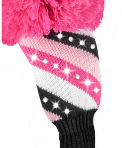 sparkle pink black white stripe fairway golf headcover