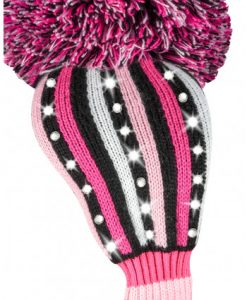 sparkle pink black white stripe driver golf headcover