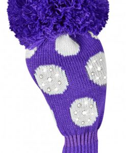 just4golf sparkle purple white dot driver golf headcover