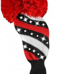 just4golf sparkle diagonal stripe red black white fairway golf headcover