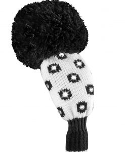just4golf luxe black white small dot hybrid golf headcover