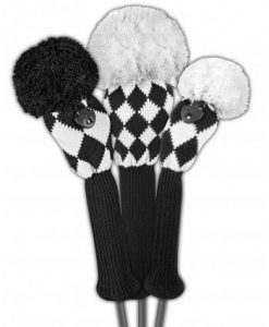 just4golf black white diamonds golf headcover set