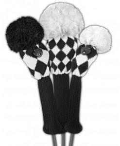 just4golf black white diamonds golf headcover set