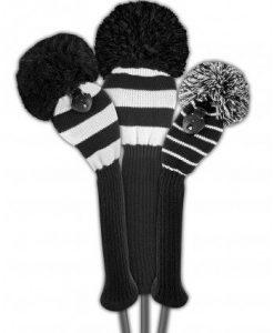 black white stripe golf headcover set