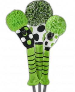 just4golf lime black white dot golf headcover set