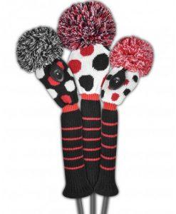 just4golf red black white dot golf headcover set