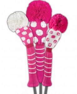just4golf pink white dots sparkle golf headcover set