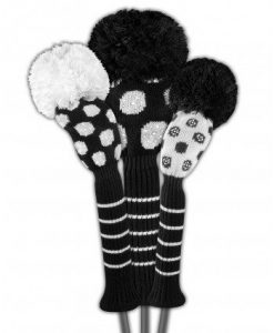 just4golf black white dot sparkle golf headcover set