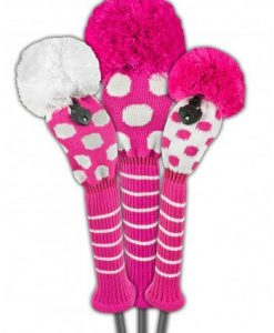 just4golf pink white dot golf headcover set