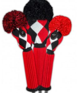 just4golf red black white diamond golf headcover set