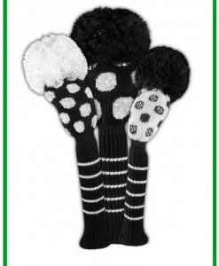 sparkle black white dot golf headcover set