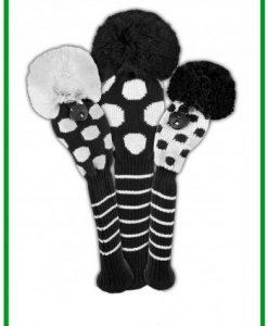 just4golf black white dot golf headcover set