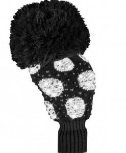 just4golf luxe black white large dot driver golf headcover