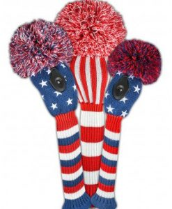 red white blue stars and stripes golf headcover set
