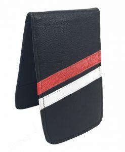 Black Red and White Stripe Scorecard Yardage Book Holder