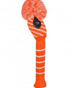Orange/White Narrow Stripe Hybrid Golf Headcover