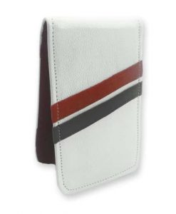 White with Red and Black Stripes Yardage Book Holder