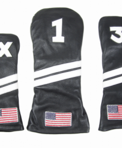 Black Leather USA Golf Headcover Set