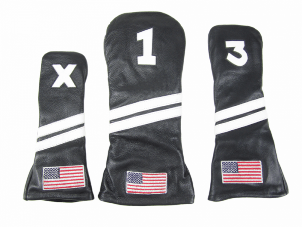 a10abed736a Black Leather with USA Flag Golf Headcovers - HeadcoversOnline.com