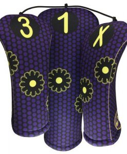 whimsical purple dot golf headcovers
