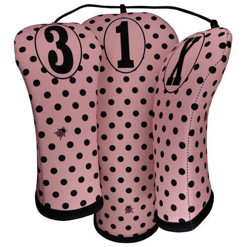 beejos retro pink polka dots golf headcovers