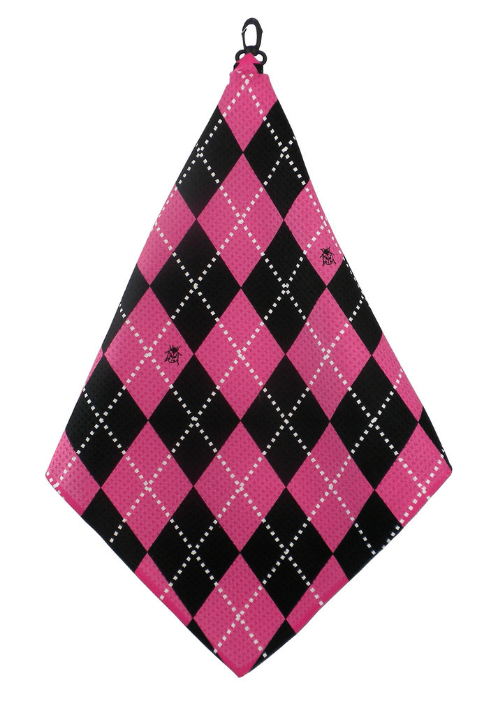 Beejos Hot Pink Black Argyle Towel