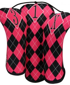 beejos hot pink black argyle golf headcovers