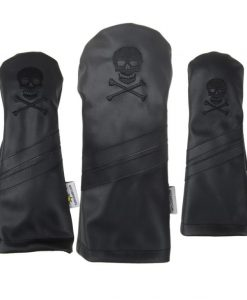 Skull and Crossbones Murdered Out Black Golf Headcovers