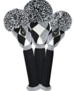 Black White Gray Diamond Golf Headcover Set